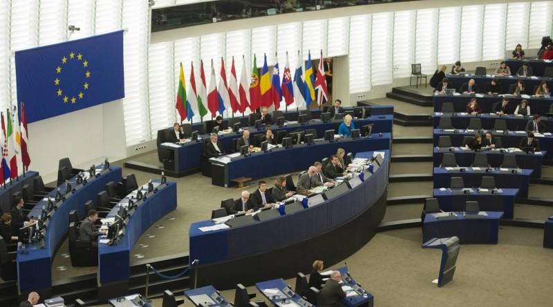Hémicycle du Parlement Européen à Strasbourg . Photo réalisée lors de votes en séance plénière le 11 février 2015 .
